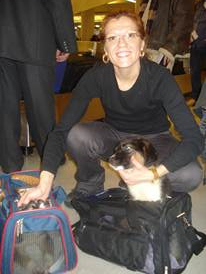 Linda with 2 shelter puppies at JFK